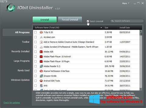 スクリーンショット IObit Uninstaller Windows 8版